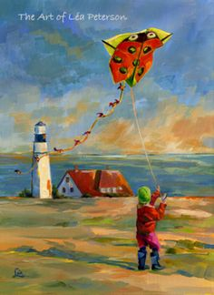 """""""Ladybug"""" by Lea Peterson Go Fly A Kite, Kite Flying, Painting Of Girl, Figure Painting, Lighthouse Art, Art Themes, Dog Art, Lighthouses, Collages"""