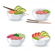 Set Of Illustrations With Different Types Of Poke Bowl Poke Bowl, Web Design, Graphic Design, Food Kiosk, Snap Food, Island Food, Different Types, Buddha Bowl, Illustrations