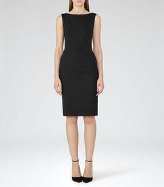 Dartmouth Dress Black Textured Tailored Dress - REISS