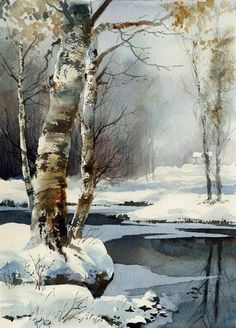 "Aud Rye (b.1951) Norway The First Snowfall 15"" x 11"" (38cm x 28cm) #painting #Art pls visit us > www.facebook.com/skalapeter7 ♡"
