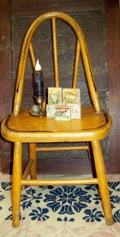 Childs/Doll  Small Vintage Chair Antique Bent Wood 21 in.  Old Mustard Color
