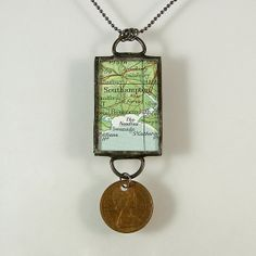 England Map and Coin Pendant Necklace by XOHandworks $30