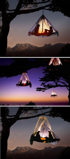 sunset tree camping on top of a Bavarian mountain summit, in Germany. Amazing!