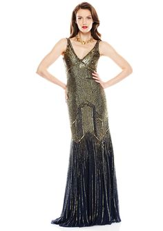 We love the art-deco feel of this beaded gown.