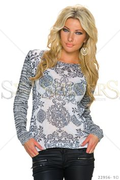 Ancient Encounter White Blouse, women`s blouse, print details, knitted fabric, elastic fabric Fabric Textures, Fall Trends, Leather Material, Clothing Items, Knitted Fabric, Beautiful Outfits, Knitwear, Blouse, Long Sleeve