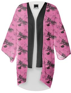 Cherry Blossom #Bonsai #kimono from Gingezel at #PAOM #cherryblossom #pinkandcharcoal #pinkfloral #fashion #fashioninspiration