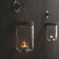 Hanging Jar Candle Holders . Set Of Two