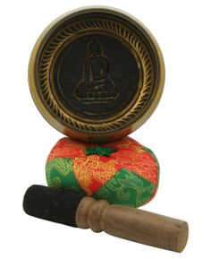 Singing bowl gift set in blue Lotka paper gift box. Handmade in Nepal, includes cushion and striker. Meditation supplies available at BuddhaGroove.com.