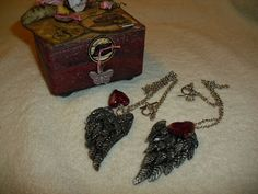 """The Wings of Love"" necklaces(Polymer clay)Jewelry & Trinket Box Jewelry by LynzCraftz"