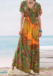 Bohemian Plunging Neck Short Sleeve Printed Elastic Waist Women's Dress