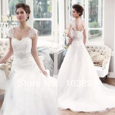 New Design A-line Sweetheart Crystals Featured Organza Detachable Cap Sleeves with Appliques Vintage Wedding Dress