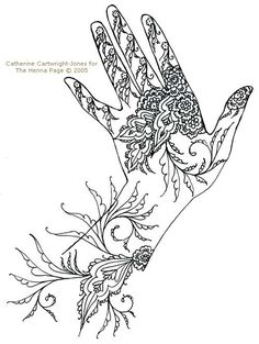 henna hands. fun coloring and doodles