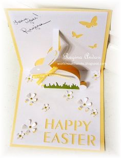 On the outside, this looks like a very simply designed Spring card, but there's a pop-up party going on inside!     I love that you just ...