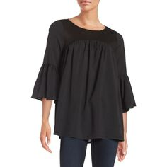 French Connection Bell-Sleeved Peasant Top ($51) ❤ liked on Polyvore featuring tops, blouses, black, flared sleeve top, peasant blouse, keyhole top, 3/4 sleeve blouse and french connection tops