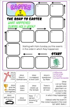 Sunday school kids Holy week, The Road to easter Activity
