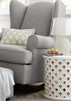 Cozy gray glider #nursery http://rstyle.me/n/ftqf3n2bn