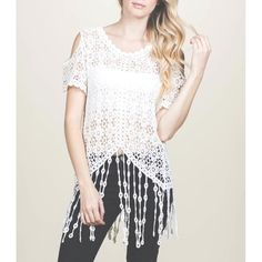 """JUST INGorgeous Crochet Fringe Top Super cute crotchet top with fringe bottom that can be worn with bralette, short, boot or even at the beach as cover. Color available: Off White Size available: S M L Note: Due to the difference between different monitors, the actual color of the item may be slightly different. Item's measured by hand, could be 1"""" different. Price firm. Bundle Welcome NO TRADE M's Boutique Tops Blouses"""