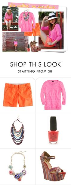 """Inspired Blog - Poor Little It Girl"" by handbagaficionado ❤ liked on Polyvore featuring J.Crew, Adia Kibur, OPI, Bakers, neon, fedora hats, statement necklaces, boyfriend shorts, multi-strap sandals and neon nail polish"
