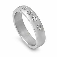 5MM Stainless Steel CZ Five Stone Domed Wedding Band (Size 6 to 10) Double Accent. $9.59. 316L Stainless Steel. Comes With Beatiful Jewelry Case. Prompt Shipping