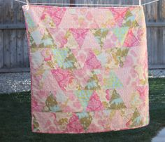 Baby Girl Quilt  Evelyn Triangled Quilt with by ElliebugQuilts, $88.00