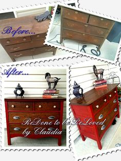 """Ruby"" Red Antique Oak Dresser by Redone to be ReLoved - Claudia Twiss"