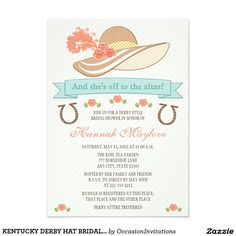 "KENTUCKY DERBY HAT BRIDAL SHOWER INVITATION 5"" X 7"" INVITATION CARD"