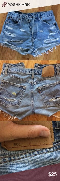 amazing Levi jean shorts these highwaisted shorts were bought on Melrose in La!!! they are pre ripped and stained with small plaint marks but it makes them super cute!!! wish they still fit! Levi's Shorts Jean Shorts