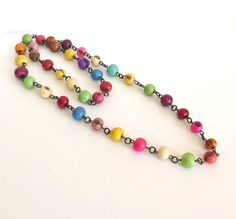 Colorful Acai Seed Bead Necklace for the boho gypsy chic! I am in love with it, how about you?