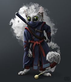 Ninja cat illustration: anthropomorphic character design was for the Character Design Challenge (CDC) for June 2019 - by Alida Loubser (Artwork medium: Digital painting in Adobe Photoshop, Wacom Intuos tablet) Ninja Cats, Wacom Intuos, Adobe Photoshop, Character Design, June, Challenge, Photo And Video, Digital, Medium