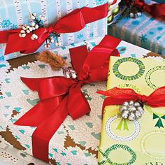Adorn Your Gifts    Pretty up your presents by attaching bells or ornaments. Use the same color ribbon on all your packages under the Christmas tree to make a cohesive look with different patterned wrapping papers.    Wrapping Paper: from Snow & Graham; snowandgraham.com.