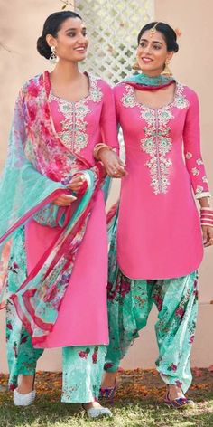 Georgeous Pink And Multi-Color Cotton Salwar Suit With Dupatta.