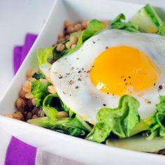 Greens & eggs inspiration - how about sprouted Einkorn wheat berries and sauteed mushrooms with a little bit of mushrooms, for greens - butter lettuce & arugula sprouts - and a sunny side egg on top <3