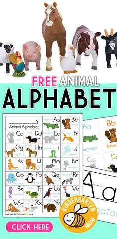 Free Animal Alphabet Printables for Kindergarten!  Free printable alphabet chart features a cute animal for every letter in the alphabet.  Animal ABC Flashcards and letter formation guides. https://kindergartenmom.com/alphabet-worksheets/alphabet-animals/?utm_campaign=coschedule&utm_source=pinterest&utm_medium=Preschool%20Kindergarten%20Mom&utm_content=Alphabet%20Animals