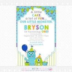 Monsters Inc. Birthday Invitation Invite by SealsItWithAKiss