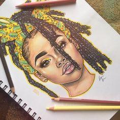 Black Love Art, Black Girl Art, Art Girl, Arte Dope, Dope Art, Pencil Art Drawings, Art Drawings Sketches, African American Art, African Art
