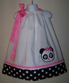 Panda Bear Pillowcase Dress / Cute / Girly / Birthday / Infant / Baby / Girl / Toddler / Pink / White / Custom Boutique Clothing