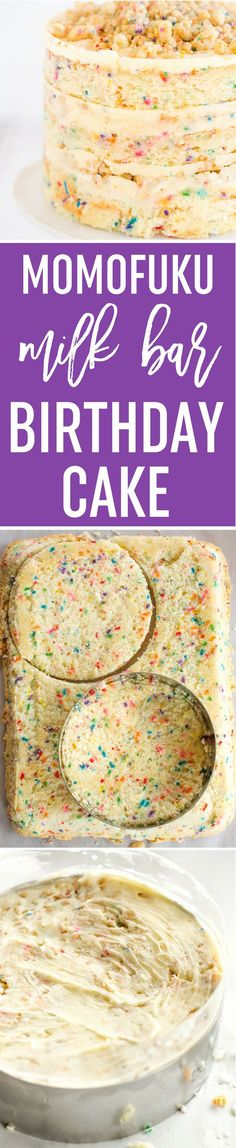 Momofuku Milk Bar Birthday Cake - Layers of funfetti cake loaded with sprinkles, vanilla frosting, and birthday cake crumbs! Make it for your favorite person! via /browneyedbaker/