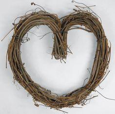 "Twig Grapevine 10"" Heart Wreaths"