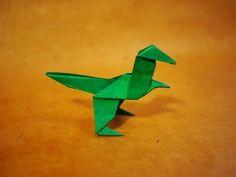How to make an Easy Origami Dinosaur Instructions on how to make an easy origami dinosaur tutorial Music: Dinosaur Origami, Kids Origami, Origami Paper Art, Origami Ball, Origami Dragon, Fabric Origami, Origami Fish, Origami Folding, Useful Origami