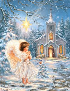 Angel at the Chapel Christmas Scenes, Christmas Pictures, Christmas Angels, Christmas Art, Angel Images, Angel Pictures, Jesus Pictures, Ariana Grande Drawings, Old Fashioned Christmas