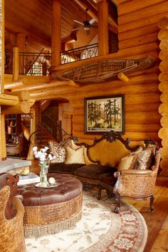 tom get's his cabin, i get my style! now that's a compromise i will b happy 2 live w/! I don't usually see this style in a log cabin but it absolutely work's beautifully. Cabana, Log Home Living, Log Home Decorating, Log Cabin Homes, Cabins And Cottages, Cozy Cabin, Cabin Plans, Cabins In The Woods, Rustic Interiors