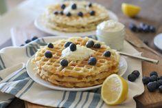 Yeasted Buttermilk Waffles with Honey-Lemon Ricotta | theroastedroot.net #brunch #recipe @redstaryeast