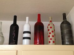 Wine bottles decorated