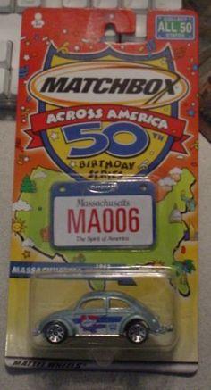 Matchbox Across America 50th Birthday Series Massachusetts VW Beetle 1962 by Mattel. $16.99. 1:64. Matchbox Across America 50th Birthday Series Massachusetts VW Beetle 1962