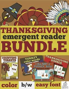 Grab our amazing **Thanksgiving bundle**. It includes 4 readers; turkey colors, turkey counting, Thanksgiving dinner, &  our turkey in disguise. For the next two days it is 50% off!!!