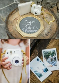 why not just have the photobooth be the guestbook and let the people waiting to have their picture taken write a note to us to go with the picture? It doesn't have to be poloroid, but it would be so easy to just make a photo album of the guests! Gold Wedding, Rustic Wedding, Dream Wedding, Wedding Day, Lake Wedding Ideas, Lake Wedding Decorations, Forest Wedding, Chic Wedding, Wedding Reception