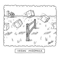 """""""Vegan Insomnia"""" - New Yorker Cartoon Poster Print by Eric Lewis at the Condé Nast Collection"""