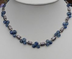 Kyanite and Bali Silver Necklace (Kathy) - by MacDesigns, on etsy