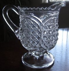 "EAPG 1897 Indiana Glass "" AUSTRIAN"" Cream Pitcher $47.99 Cut Glass, Clear Glass, Antique Glassware, Indiana Glass, Pressed Glass, Early American, Depressed, Art Gallery, Cream"