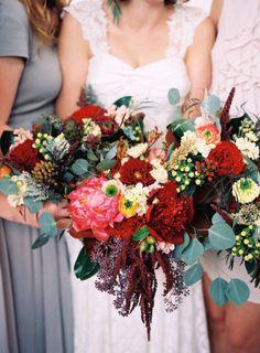 Bouquets of red flowers: http://www.stylemepretty.com/2015/02/20/minimalist-dallas-loft-wedding/ | Photography: Nicole Berrett - http://www.berrettphotography.com/